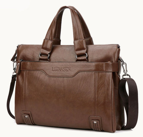 LEINASEN Men's Leather Computer Briefcase - Front View - The Store Bags
