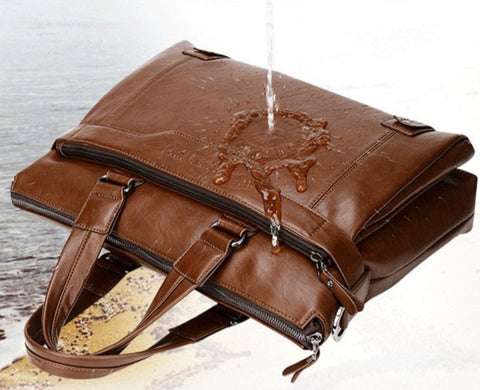 LEINASEN Men's Leather Computer Briefcase - Weather Resistant - The Store Bags