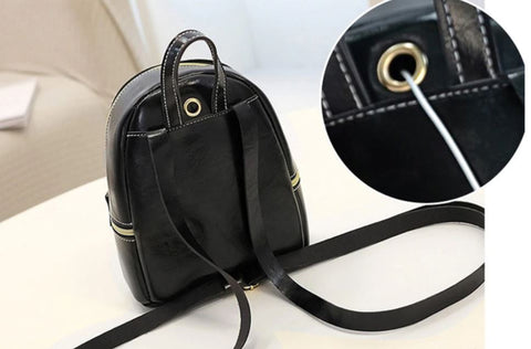 LVS Mini Black Faux Leather Backpack - Earphone Slot