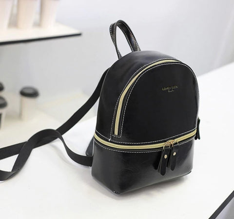 LVS Mini Black Faux Leather Backpack - High Quality Faux Leather