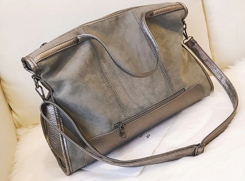 L&M Handbag Leather Tote - Silver - The Store Bags