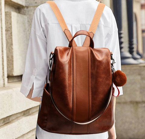 L&M Leather Handbag Backpack Convertible - Backpack - The Store Bags