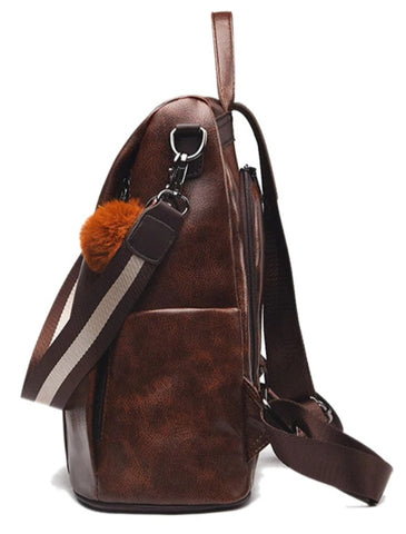 L&M Leather Handbag Backpack Convertible - Side View - The Store Bags
