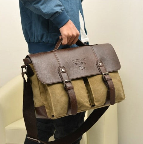 MANJIANG Vintage Messenger Bag Canvas - Front View - The Store Bags