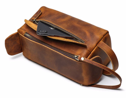 Masson Luxury Men's Toiletry Bag - Zipper Front Pocket