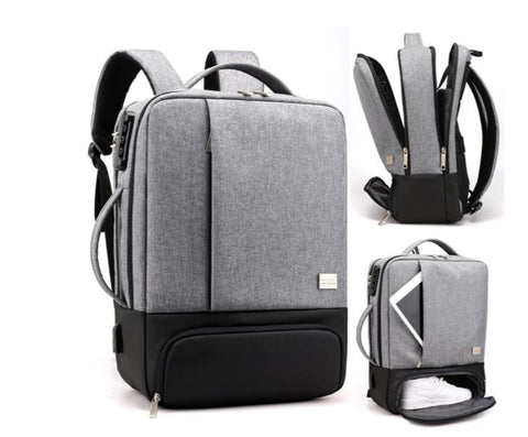 Men's Convertible Backpack With Shoes Bag