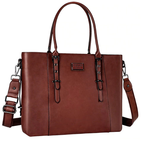 Mosiso Laptop Tote Bag Leather - Brown - The Store Bags