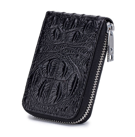 TSB Croc Zipper Women's Wallet With Genuine Leather