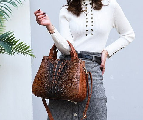 TSB Crocodile Leather Bag - Brown - The Store Bags