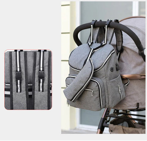 TSB Diaper Bag With Charger - Stroller Straps