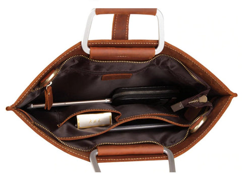 TSB Document Bag Leather - Interior View - The Store Bags