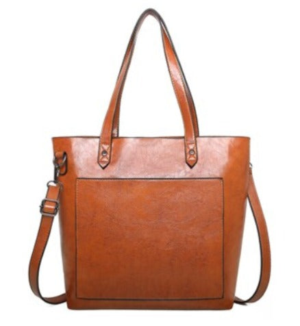 TSB Leather Handbag Blue - Front View - The Store Bags