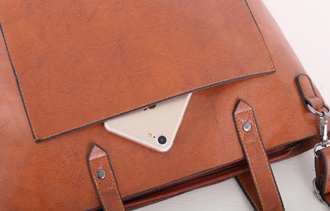 TSB Leather Handbag Blue - Top View - The Store Bags