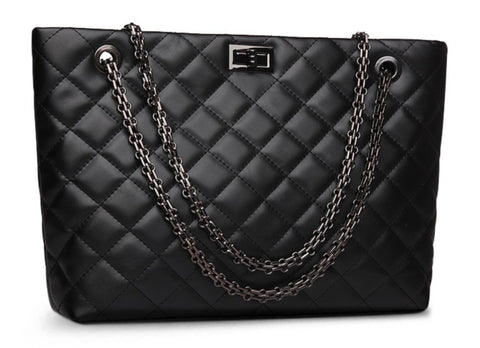 TSB Leather Quilted Handbag With Chain Strap - Front View - The Store Bags