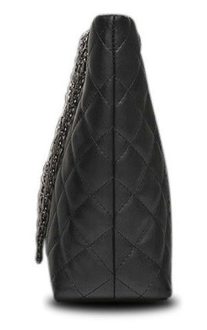 TSB Leather Quilted Handbag With Chain Strap - Side View - The Store Bags