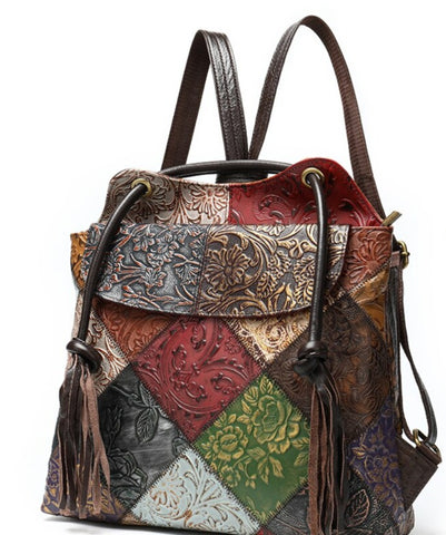 TSB Patchwork Leather Backpack - Front View - The Store Bags