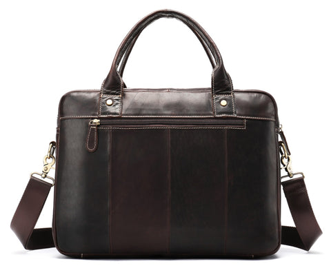 WESTAL Men's Brown Leather Laptop Bag - Back View - The Store Bags