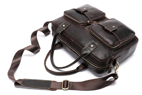WESTAL Men's Brown Leather Laptop Bag - Top View - The Store Bags