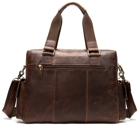 WESTAL Men's Leather Weekend Travel Bag - Back View - The Store Bags