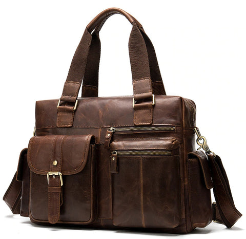 WESTAL Men's Leather Weekend Travel Bag - Front View - The Store Bags