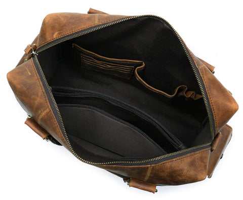 WESTAL Men's Leather Weekend Travel Bag - Interior View - The Store Bags