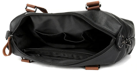 WESTAL Men's Overnight Bag Leather - Interior View - The Store Bags