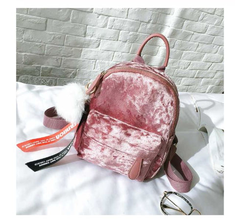 WILEY Pink Velvet Mini Backpack