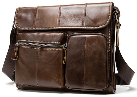 WESTAL Male Leather Messenger Bag - Front View - The Store Bags