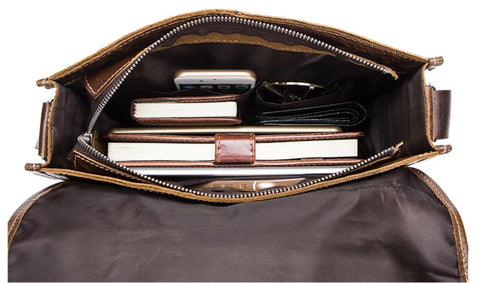 WESTAL Male Leather Messenger Bag - Interior View - The Store Bags