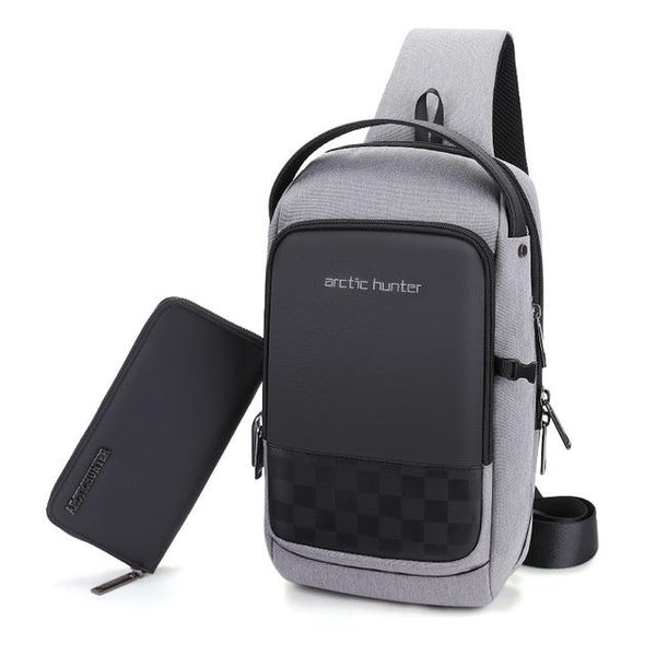 ARCTIC HUNTER Design USB Sling Bag The Store Bags Grey add wallet