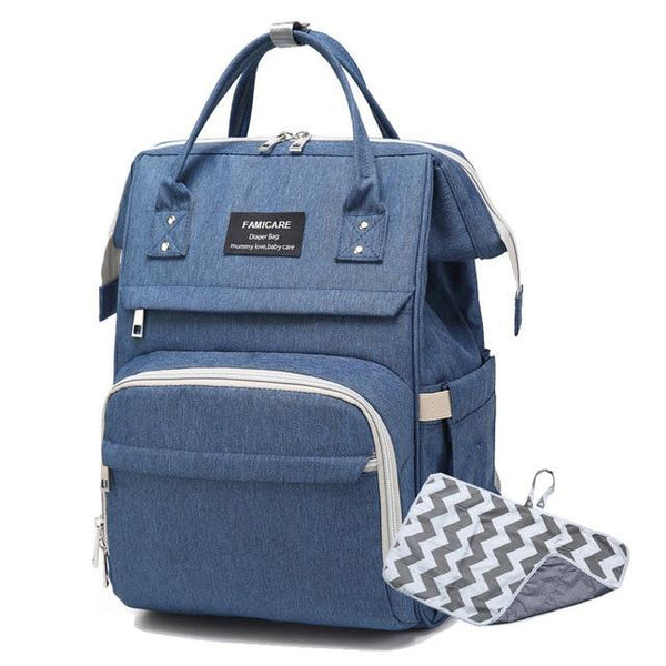 FAMICARE Diaper USB Backpack The Store Bags Dark Blue