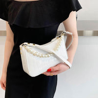 Leather Baguette Shoulder Bag ERIN The Store Bags White