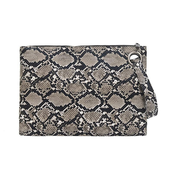Snake Print Clutch ABEDA The Store Bags Gray