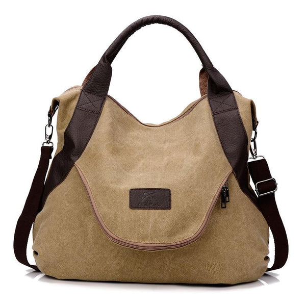 Leather Handle Canvas Tote Bag The Store Bags khaki