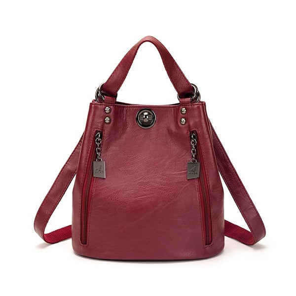 Red Leather Bookbag ERIN The Store Bags Medium Red