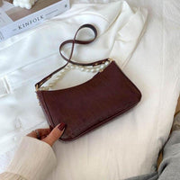 Leather Baguette Shoulder Bag ERIN The Store Bags Dark brown