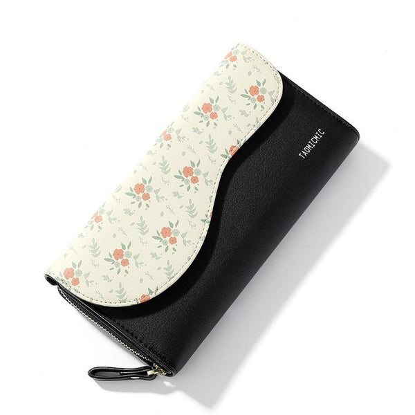 Floral Leather Wallet TAOMICMIC The Store Bags Black
