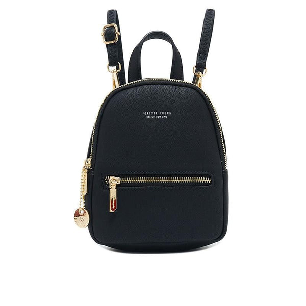 Leather Zip Backpack ERIN The Store Bags Black