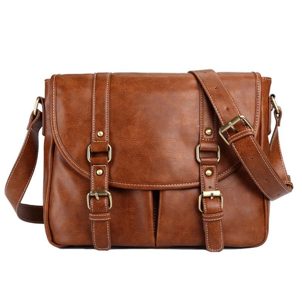 Unisex Leather Messenger Bag SHONA The Store Bags Brown