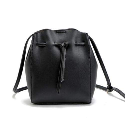 Black Leather Bucket Bag ERIN
