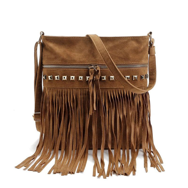 Leather Crossbody Purse With Fringe ERIN The Store Bags Camel