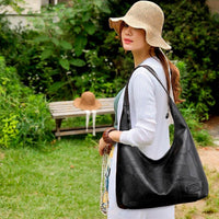 Black Leather Hobo Shoulder Bag ERIN The Store Bags