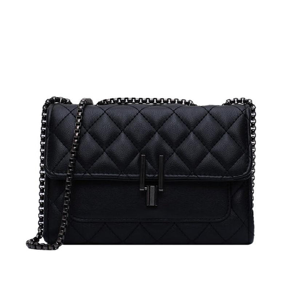 Quilted Leather Shoulder Bag with Chain Strap
