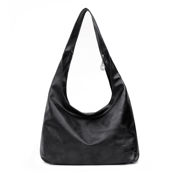 Black Leather Hobo Shoulder Bag ERIN The Store Bags Black