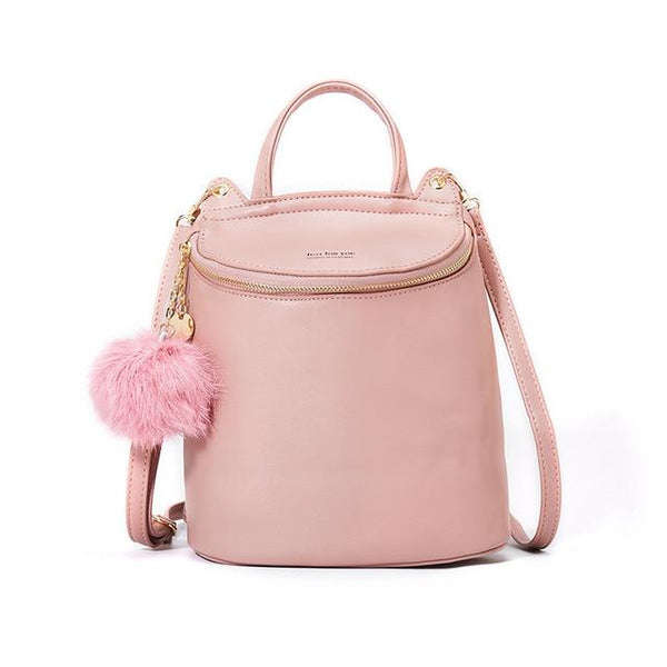 Women's Backpack With Pom Pom MADDY The Store Bags Pink