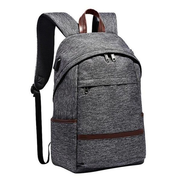 College Student Backpack With USB Port The Store Bags Gray