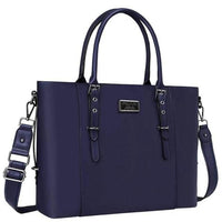 Large Leather Laptop Tote MOSISO The Store Bags Navy Blue