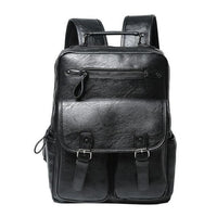 Men's Black Leather Backpack MASSON The Store Bags