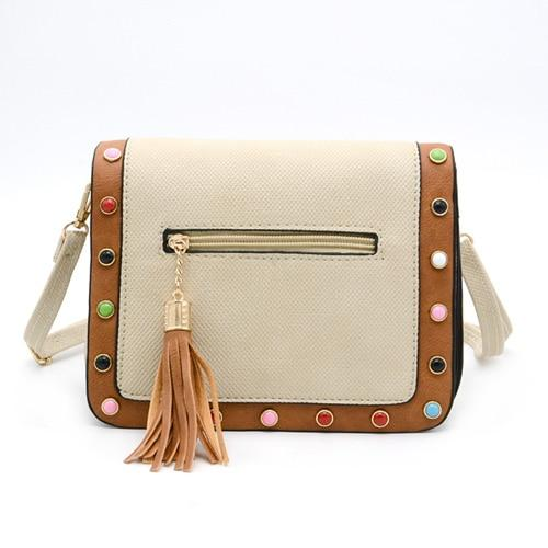 SUSU RIVET Faux Leather Bag The Store Bags beige