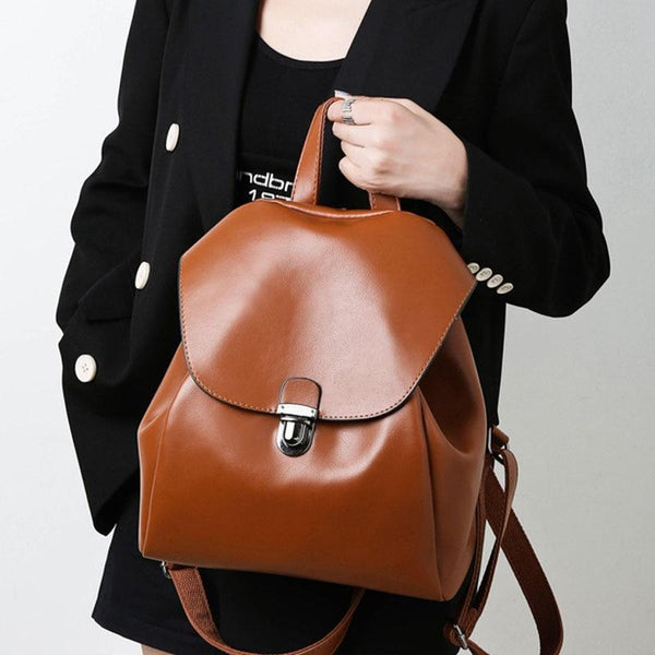 TATIE Women's Leather Backpack Handbag The Store Bags Brown